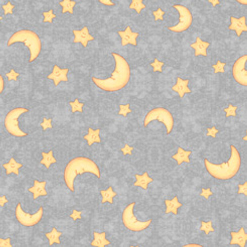 Quilting Treasures Lullaby Moon & Stars Grey 100% Cotton (QT Lullaby 1)