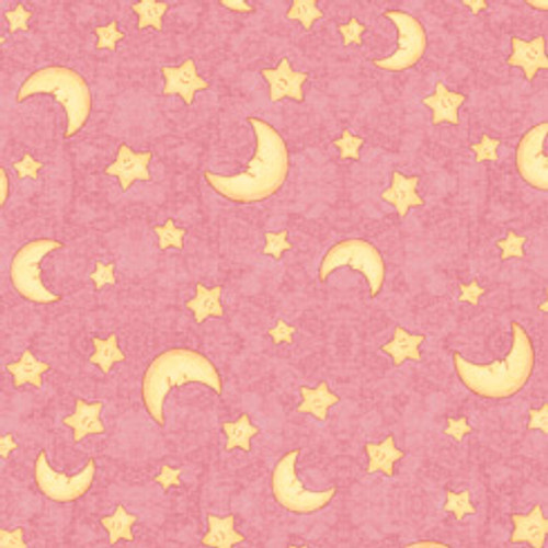 Quilting Treasures Lullaby Moon & Stars Pink 100% Cotton (QT Lullaby 3)