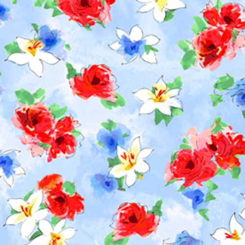 Quilting Treasures Ashlee Watercolour Floral Blue 100% Cotton (QT Ashlee 1)