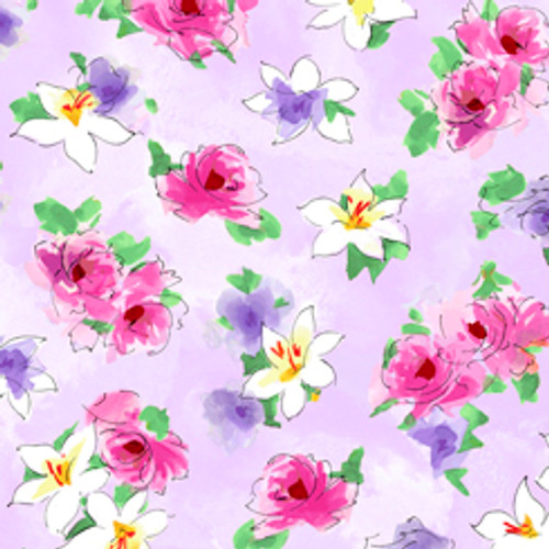 Quilting Treasures Ashlee Watercolour Floral Lilac 100% Cotton (QT Ashlee 3)