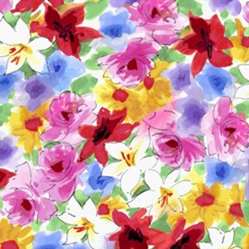 Quilting Treasures Ashlee Watercolour Floral Multicoloured 100% Cotton (QT Ashlee 4)