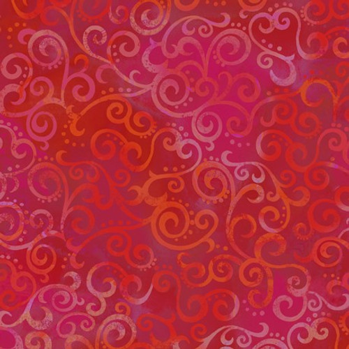 Quilting Treasures Ombre Scroll Cherry Red 100% Cotton (QT Ombre Scroll 4)