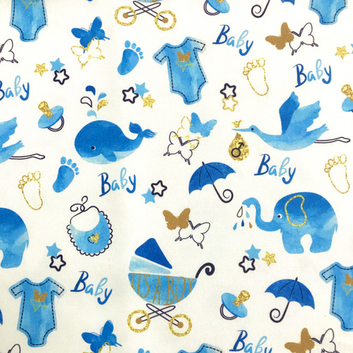 The Vintage Sweetheart Baby Shower Boy White 100% Cotton Remnant (48 x 48cm VS It's A Boy)