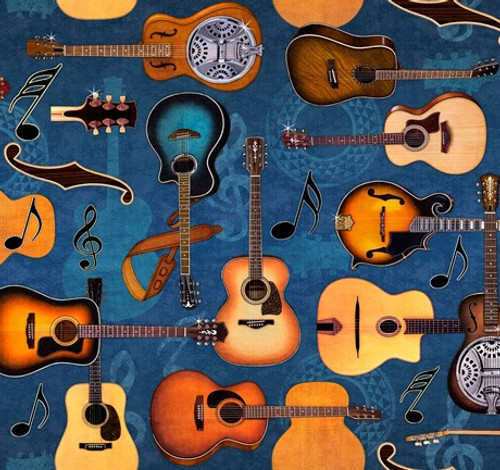Quilting Treasures Lil' Bit Country Guitars Denim Blue 100% Cotton Remnant (49 x 110cm QT Lil' Bit Country 2)