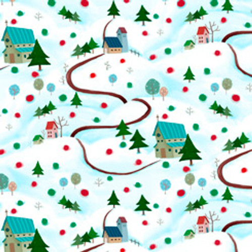 Quilting Treasures Warm Wishes Winter Scene Light Aqua 100% Cotton Remnant  (49 x 110cm QT Winter Scene)