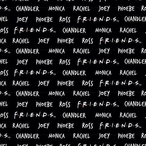 Friends 25th Anniversary Names Black 100% Cotton Remnant (71 x 110cm Friends Names)