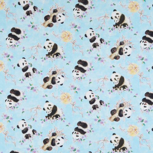 Studio E's Panda Sanctuary Digital Tossed Panda's Blue 100% Cotton Remnant (54 x 112cm SE Panda Sanctuary 2)