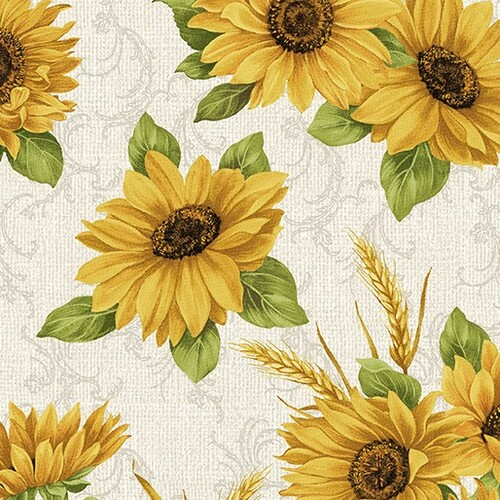 Benartex Accent On Sunflowers Sunflower Meadow Linen 100% Cotton Remnant (29 x 112cm Benartex Accent On Sunflowers 2)