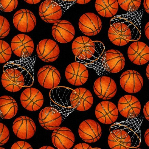 Timeless Treasures Basketballs & Hoops Orange Black 100% Cotton Remnant (31 x 112cm TT Basketball)