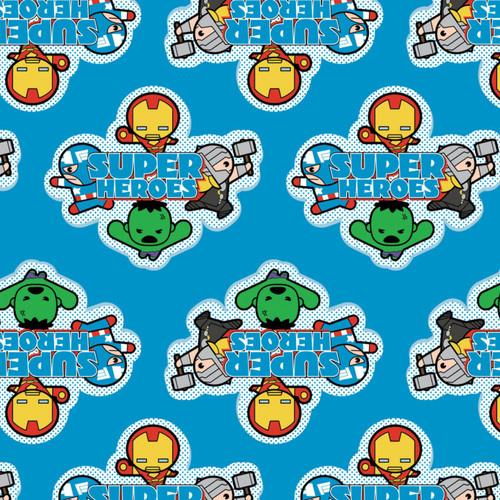 Disney Marvel Superheroes Avengers Kawaii Blue 100% Cotton (Kawaii Superheroes 1)