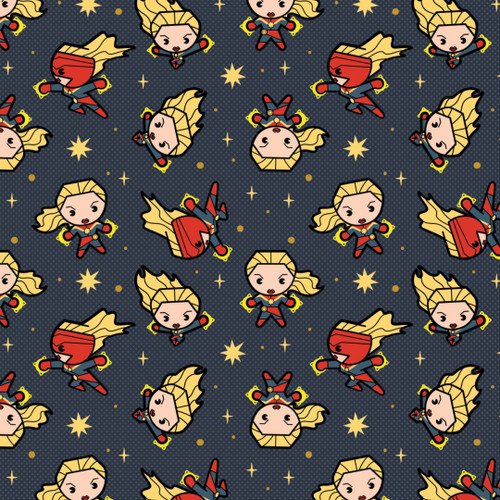 Disney Marvel Superheroes Avengers Captain Marvel Kawaii Grey 100% Cotton (Kawaii Superheroes 2)