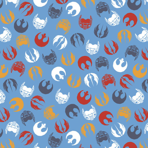 Star Wars Logos and Helmets Blue 100% Cotton (Star Wars 35)