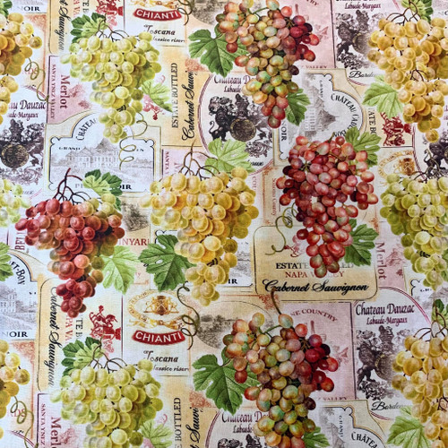 Kanvas Studio Cheers To You Vineyard Vintage Labels Grapes Multicoloured 100% Cotton (KS Cheers To You 2)