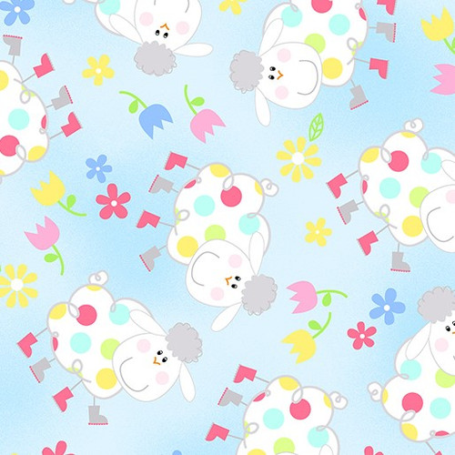 Kanvas Studio Hippity Hoppity Springy Sheep Sky Blue 100% Cotton (KS Hippity Hoppity 2)
