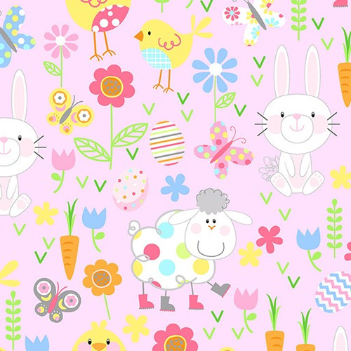 Kanvas Studio Hippity Hoppity Spring Easter Friends Pink 100% Cotton (KS Hippity Hoppity 4)