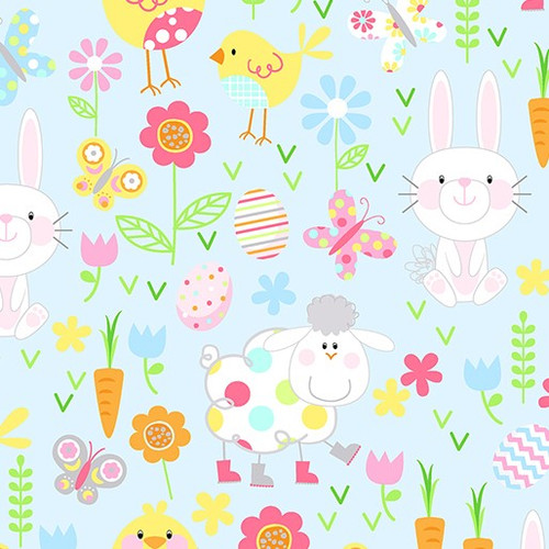 Kanvas Studio Hippity Hoppity Spring Easter Friends Sky Blue 100% Cotton (KS Hippity Hoppity 5)