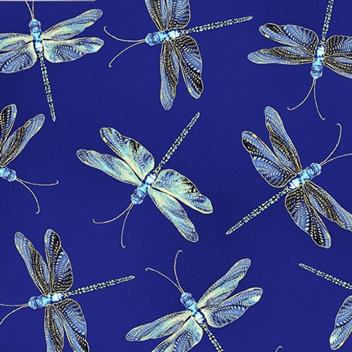 Kanvas Studio Moonlight Serenade Moonlit Metallic Dragonflies Royal Blue 100% Cotton (KS Moonlight Serenade 1)
