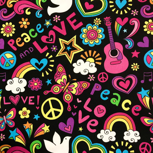 The Vintage Sweetheart Peace & Love Hippy Cosmo Black 100% Cotton (VS Peace & Love -1 METRE PIECE)