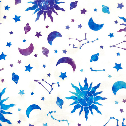 The Vintage Sweetheart Cosmic Sun Hippy Space Stars White 100% Cotton (VS Cosmic -1 METRE PIECE)