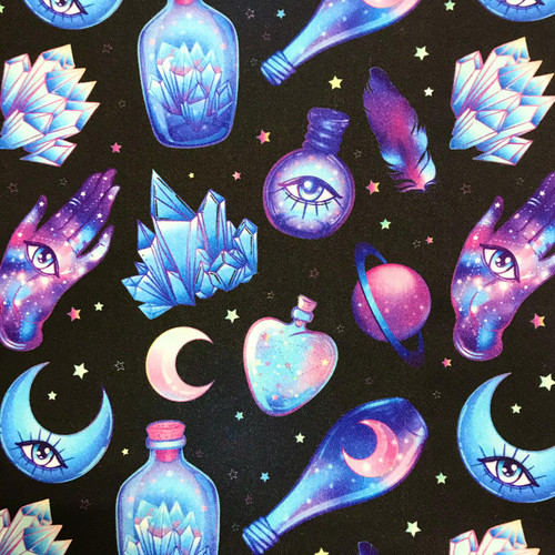 The Vintage Sweetheart Mystical All Seeing Eye Crystals Black 100% Cotton (VS Mystical -1 METRE PIECE)