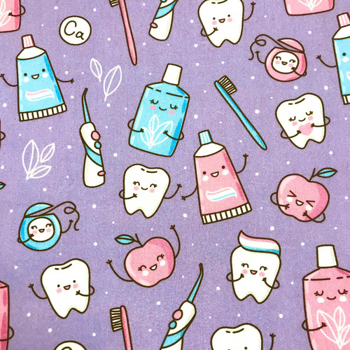 The Vintage Sweetheart Happy Novelty Teeth & Toothbrushes Purple 100% Cotton (VS Milk Teeth -1 METRE PIECE)
