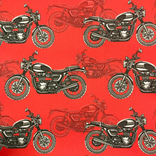 The Vintage Sweetheart Motorcycles Motorbikes Red 100% Cotton (VS Motorcycles -1 METRE PIECE)