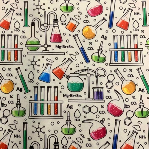 The Vintage Sweetheart Science Lab Experiments School White 100% Cotton (VS Science -1 METRE PIECE)
