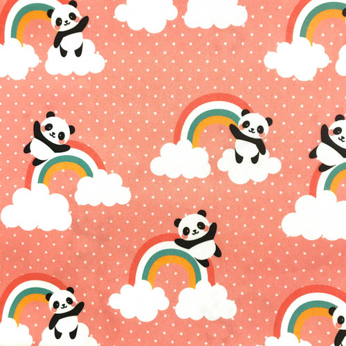 The Vintage Sweetheart Cute Novelty Pandas Over The Rainbow Pink 100% Cotton (VS Panda Over The Rainbow -1 METRE PIECE)