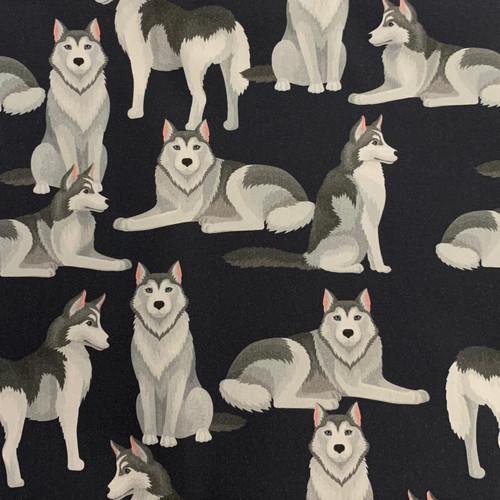 The Vintage Sweetheart Loyal Dogs Huskies Black 100% Cotton (VS Huskies -1 METRE PIECE)