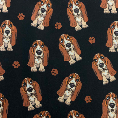 The Vintage Sweetheart Hound Dogs Basset Hounds Black 100% Cotton (VS Basset Hounds -1 METRE PIECE)