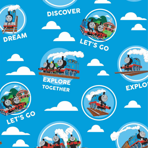 Craft Cotton Co. Thomas & Friends Explore Together Blue 100% Cotton (Thomas The Tank Engine 3)