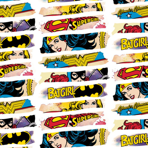 DC Comics Bat Girl, Supergirl & Wonderwoman Eyes White 100% Cotton (Girl Power 4)