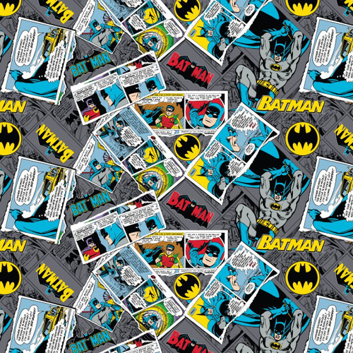 DC Comics Batman Comic Pages Grey 100% Cotton (Batman 15)