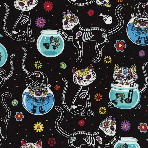 Timeless Treasures Sugar Skull Cats kitty Day Of The Dead Bright Black 100% Cotton Remnant (31 x 112cm TT Day Of The Dead 4)