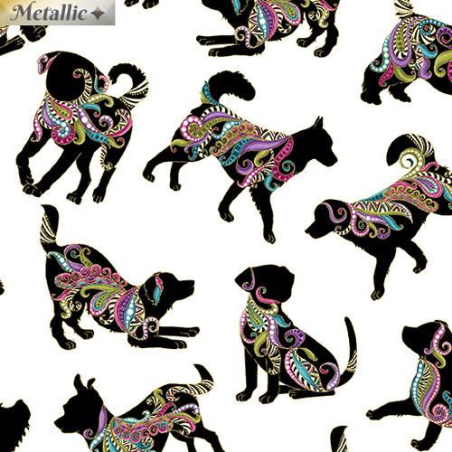 Benartex Multicoloured Metallic Black Dogs White 100% Cotton Remnant (50 x 112cm)