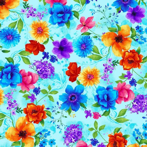Timeless Treasures  Multicoloured Flowers Blue 100% Cotton Remnant  (37 x 112cm TT Night Bloom Small Floral Blue)