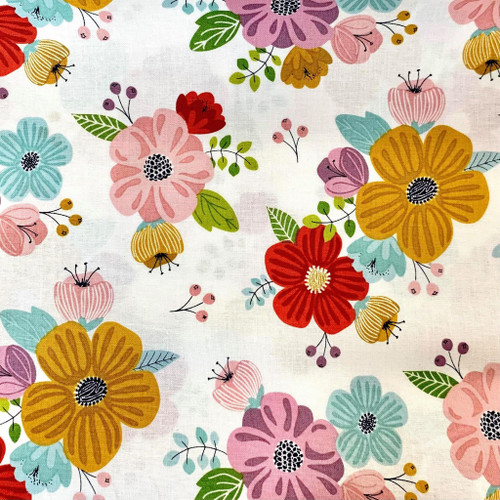 Nutex Sunshine Spring Floral White 100% Cotton (Sunshine Floral White)