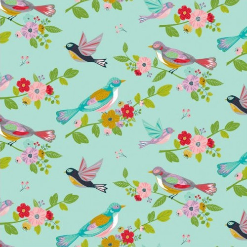 Nutex Sunshine Birds & Floral Mint 100% Cotton (Sunshine Birds Mint)