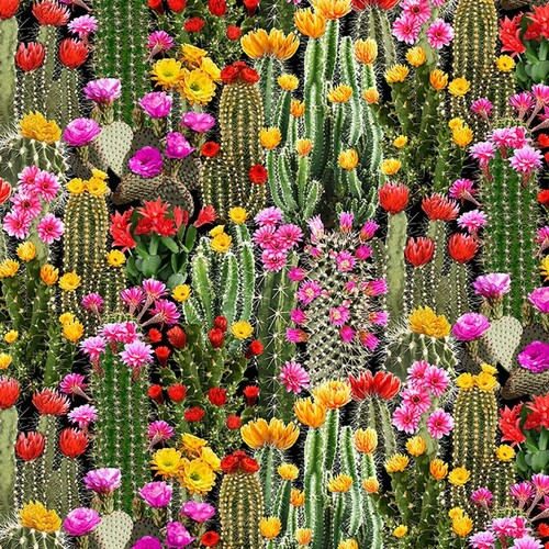 Timeless Treasures South West Flowering Packed Cacti Cactus Green 100% Cotton (TT Cacti)