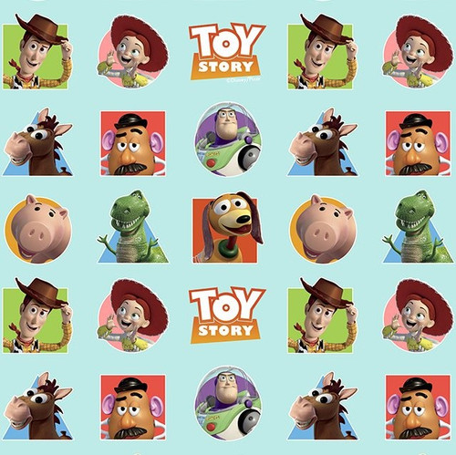 Disney Toy Story Characters Blue 100% Cotton Remnant (47 x 150cm Toy Story Characters Blue)