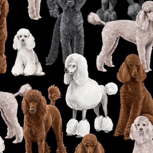 Timeless Treasures Poodles Dog Black 100% Cotton Remnant (47 x 112cm TT Poodles)