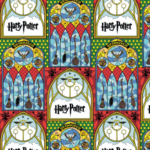 Harry Potter Stained Glass Windows Broomsticks Quidditch Multicoloured 100% Cotton (Harry Potter 37)