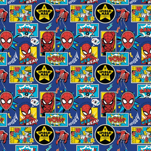 Disney Spiderman Marvel Outside The Box Cartoon Blue 100% Cotton (Spiderman 11)