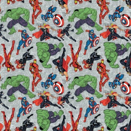 Disney Marvel Comics Superheroes Avengers Grey 100% Cotton (Avengers 4)