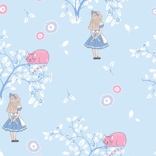 The V & A Collection Alice In Wonderland Cheshire Cat Blue 100% Cotton (Wonderland 6)