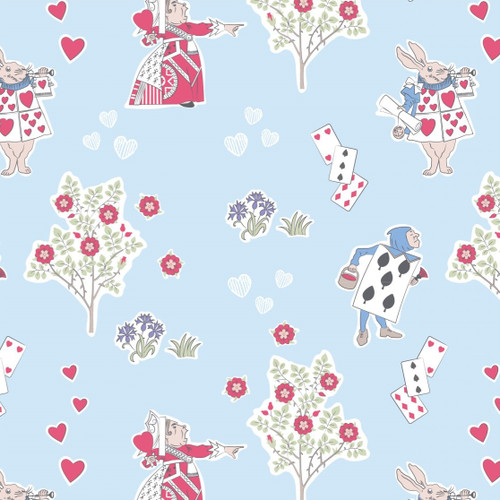 The V & A Collection Alice In Wonderland Queen Of Hearts Blue 100% Cotton (Wonderland 8)