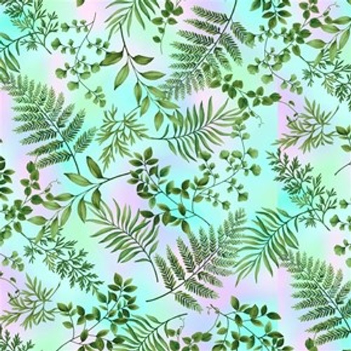 Henry Glass & Co. Dragonfly Garden Ferns Green 100% Cotton Remnant (69 x 112cm HG Dragonfly Garden 7)
