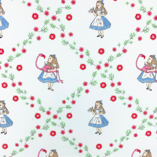 The V & A Collection Alice In Wonderland Alice Floral White 100% Cotton (Wonderland 9)