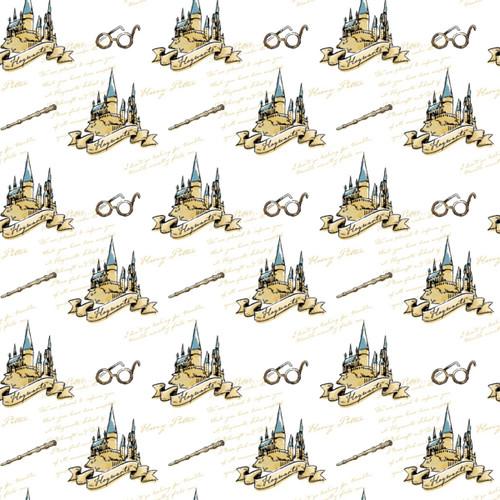 Harry Potter Hogwarts Cartoon White 100% Cotton Remnant (61 x 110cm Harry Potter 21)