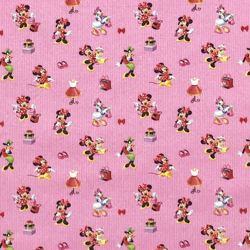 Chatham Glyn Disney Minnie Mouse & Friends Daisy Duck Pink 100% Cotton Remnant (56 x 140cm  Minnie 15)